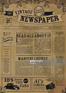 Vintage newspaper layout design template vector art for Old fashioned newspaper template free