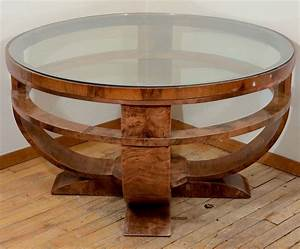 Round art deco french glass top coffee table with burled for Glass top circle coffee table