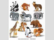 Wild Animals Their Babies Stock Vector 729438340