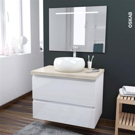 meuble salle de bain vasque à poser ensemble salle de bains meuble ipoma blanc brillant plan de toilette hosta vasque ronde miroir