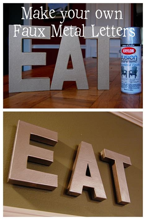 faux metal letters frugal craft pictorial