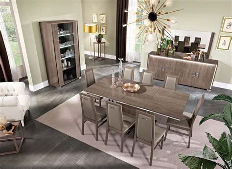 dover dining room set  brown finish  mcs italy