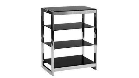 canapé classe etagère à 4 plateaux en inox et verre trempé noir meuble