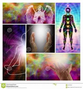 Angel Healing Hands Collage Stock Photo
