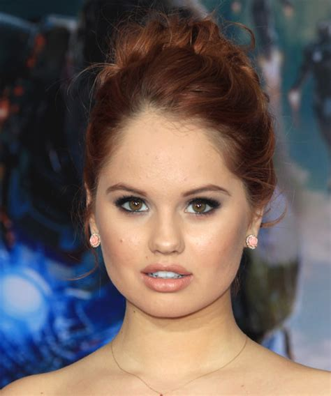 debby ryan formal long curly updo hairstyle red hair color