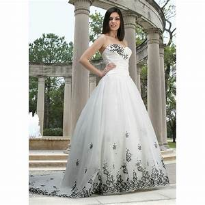 Sweetheart strapless white wedding gown dress with black for Black white wedding dresses