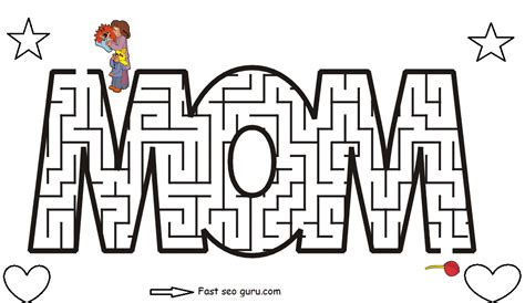 Printable Maze Game For Mothers Day Coloring Pages