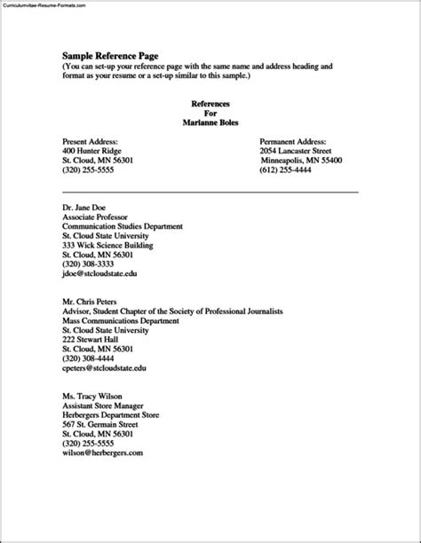 reference page template for resume free sles