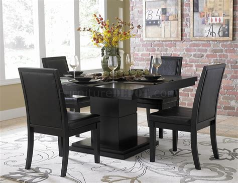 black finish modern dining table w optional side chairs