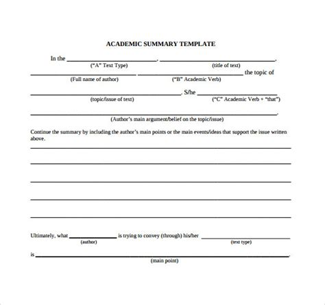 Academic Study Template by Chapter Summary Template 9 Free Sles Exles Formats