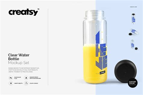The best source of free bottle mockup psd templates for your project. 透明塑料水瓶设计效果图样机模板 Clear Water Bottle Mockup Set - 早道大咖