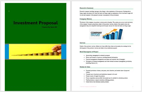 investment proposal template word templates