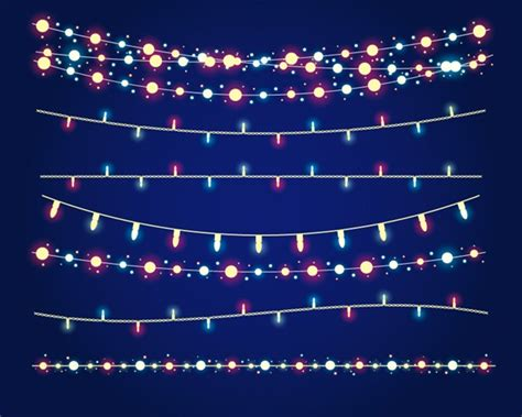 7 holiday lights string vector graphics my free