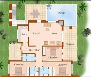 plan villa maroc With plan de maison cubique 4 plan maison 180m2 3 chambres gratuit plan n17691 univia