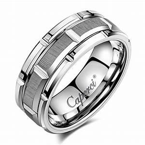 caperci men39s 8mm brick pattern tungsten wedding band ring With high end mens wedding rings