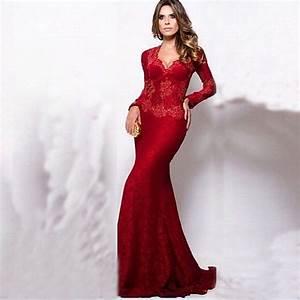 robe longo de renda elegante dentelle a manches longues With robe de soirée longue manche longue