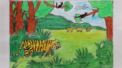 draw scenery  forest sundarban  easy youtube