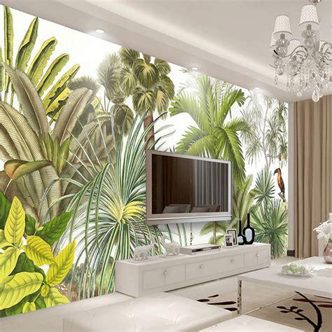 Custom 3d Wall Mural Wallpaper Tropical Rainforest Green