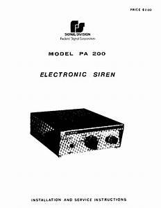 Federal Signal Pa200 Service Manual Service Manual
