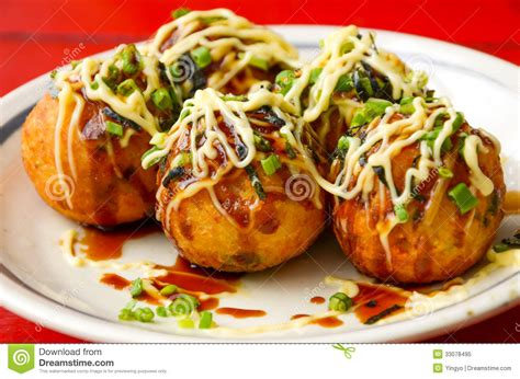cuisine japonaise sushi takoyaki octopus balls japanese food stock image image