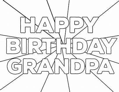 Coloring Birthday Happy Pages Printable Grandpa Dad