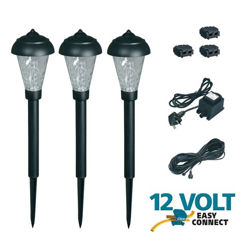 12v electric low voltage garden post light set of 3 path