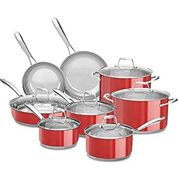 amazoncom kitchenaid  stainless steel  piece cookware set empire red electronics