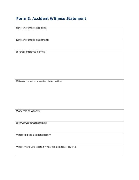 employee witness statement forms  ms word
