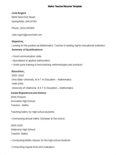 Teaching Resume Format In Word by How To Make A Resume Template