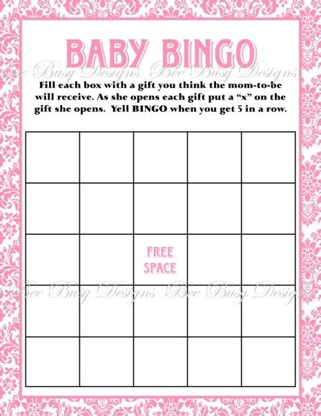 printable pink damask baby shower bingo game baby shower