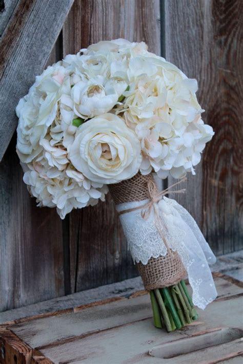 Ivory Silk Flower Burlap And Lace Bridal Bouquet