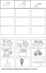 Kindergarten Transportation Worksheets