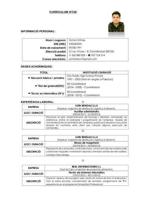 De Cv by Curriculum Vitae Catala Modelo De Curriculum Vitae
