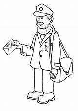 Coloring Postman Pages Office Workers Community Mailman Printable Helpers sketch template