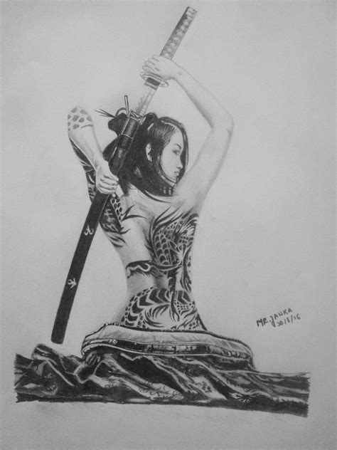 girl katana drawing tattoo en  tatouage samourai