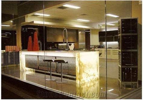 Translucent Onyx Bar Top, Translucent Yellow Onyx Bar Top