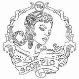 Zodiac Coloring Pages Colouring Scorpio Adult Signs Virgo Printable Adults Beauty Horoscope Sheets Cat Sign Astrology Colors Therapy Mandala Print sketch template