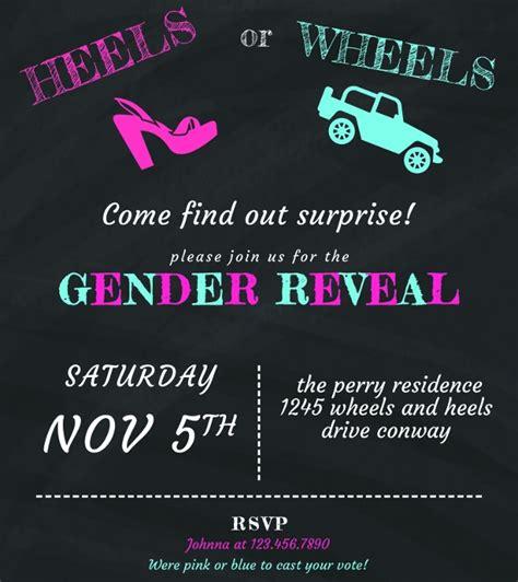 psd gender reveal invitation template