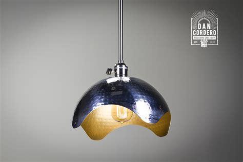 Hammered Gold & Brushed Nickel Edison Bulb Pendant Light
