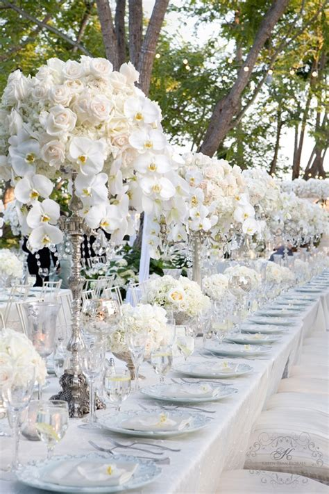 White Wedding Centerpiece Silver Candelabra With Roses
