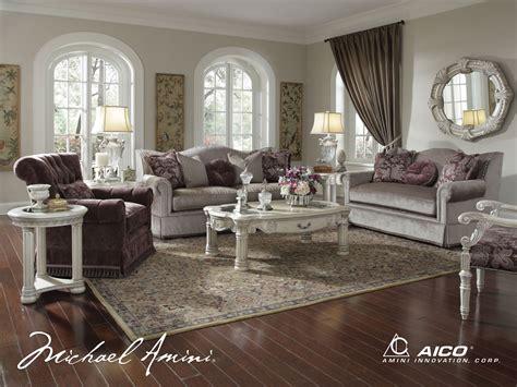 Michael Amini Monte Carlo Ii Silver Pearl Finish Living