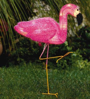 lighted pink garden flamingo lawn ornament