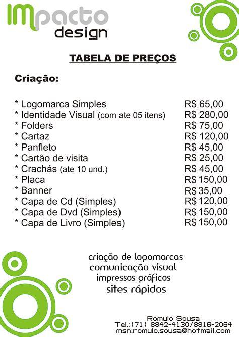 design de tabela de preços impacto design