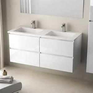 Meuble Salle De Bain 121cm Blanc Brillantdouble Vasque