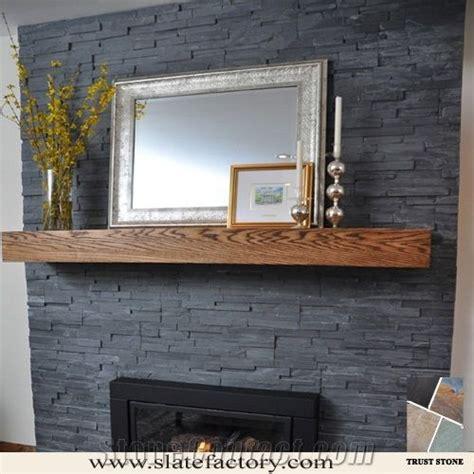 Slate Veneer Fireplace - cultured slate fireplace surround black culture