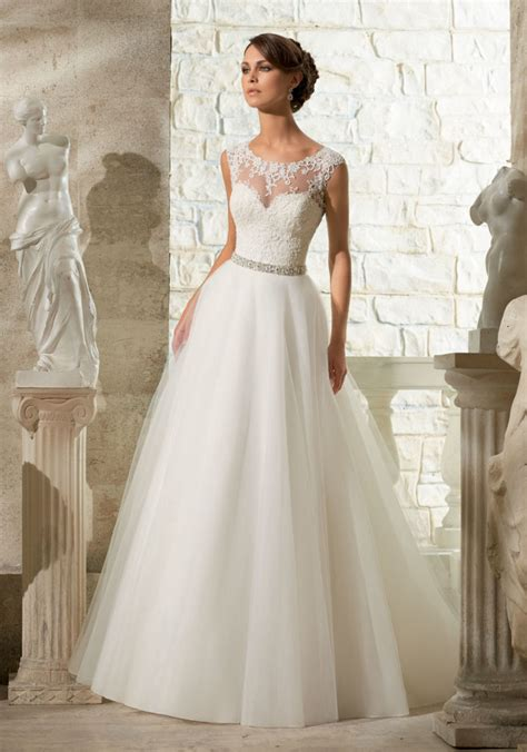 Wedding Gowns by Lace Appliques On Soft Tulle Morilee Wedding Dress Style