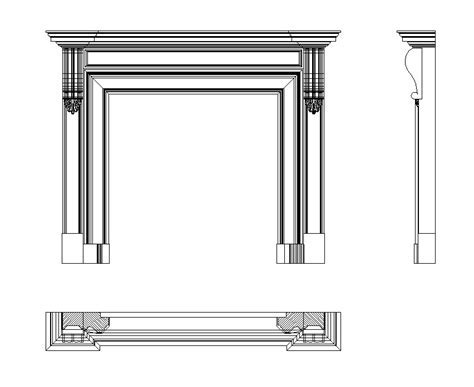 Download free cad block of a fireplace   cadblocksfree