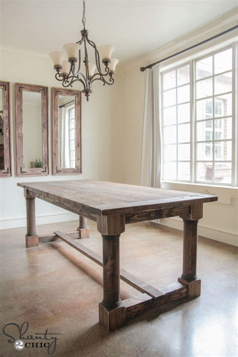 diy dining table  turned legs shanty  chic