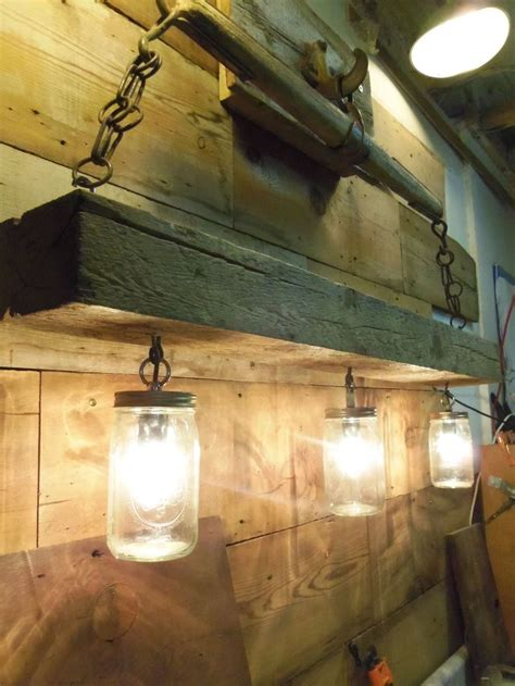 details about reclaimed wood beam jar chandelier