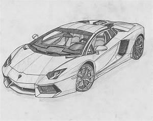 Image for Lamborghini Aventador Black And White Drawing ...